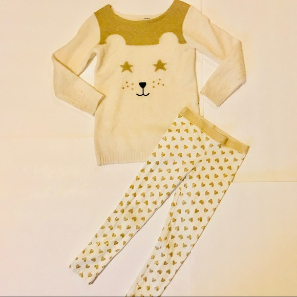 Carter's Other - Carter's white and gold bear sweater & pants set